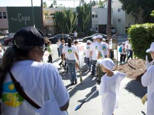 It begins each month at the Church of Scientology Celebrity Centre and moves out into the Hollywood area, including homeless encampments.