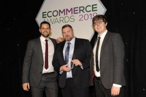 Al Gerrie receiving the Best Innovation award at the eCommerce Awards 2019