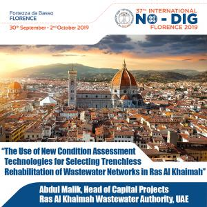 Abdul Malik, Head of Capital Projects, RAKWA, presenting at the 37th Annual International No-Dig Conference.