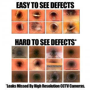 CCTV images that are 'easy' to see obvious defects, and 'difficult' to see showing the limitation of visual inspection to accurately identify leaks