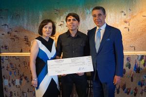 Shana De Caro & Michael V. Kaplen with 2019 Traumatic Brain Injury Scholarship winner Luis Fierro Rios