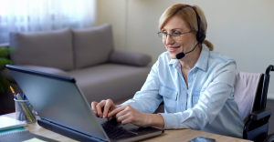 Woman Happy Answering Calls from Her Home
