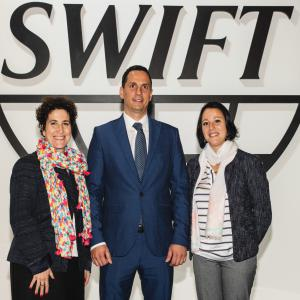Judith Baracs (SWIFT), Lyubomir Nikolov (Fibank) and Charifa Elotmani (gpi EMEA)