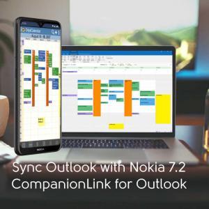 Nokia 7.2 featurng Outlook Calendar Colors