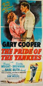 Original three-sheet poster for the 1949 Gary Cooper film The Pride of the Yankees. Never used, like-new condition. Possibly the best of all extant examples. Provenance: The Robert Osborne Collection, then by family descent. Estimate: $4,000-$6,000