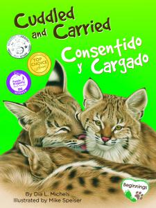 Front cover of the bilingual book shows three cougars cuddled together like cats.