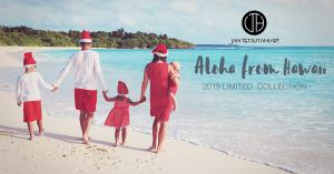 Aloha from Hawaii postcard of family walking on a Hawaiian beach in red attire. This is the theme of Jan Tetsutani's new art collection 'Aloha from Hawaii'