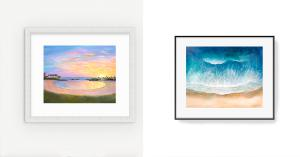 This photo is of two paintings. The first one on the left it called 'Koolina Sunset' with beautiful yellows, oranges, pinks and purples in the sunset reflecting in the shoreline water. The painting on the right is a resin painting of the ocean from a bird