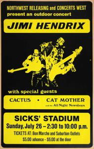 An $8000 Reward Is Offered For This Jimi Hendrix Sicks Stadium 7/26/1970 Concert Poster