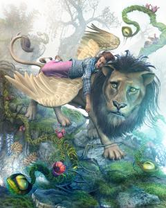In semi-consciousness, the Manticore carries Dorothy from the intoxicating mists that cover the moldering earth in the Valley of the Vegans - Book Two, Trail of Tears, The Wizard Was Odd Trilogy